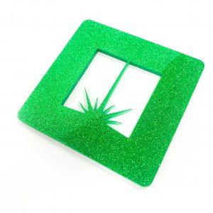 green glitter acrylic